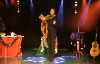 spectacle de magie mêlant la chanson, la musique et la ventriloquie